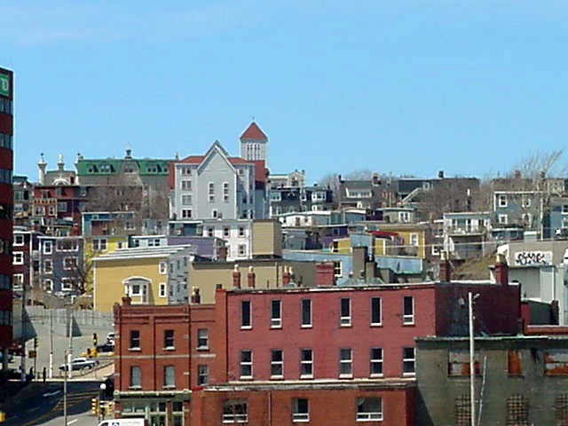 The view on the pastel-painted houses in St Johns.
