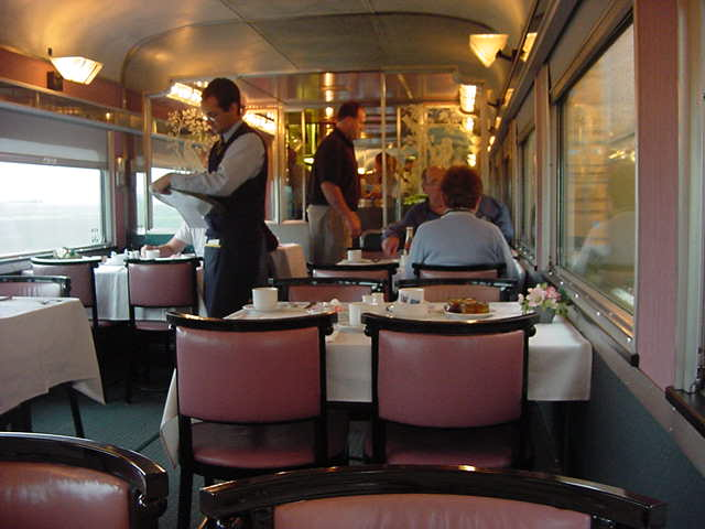 Breakfast in the dining car of The Ocean train, one hour away from my destination for today: Montreal.