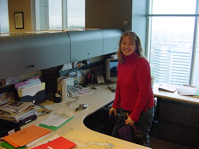 Glenda at her desk, where she allowed me to do a quick email check before we would head to her home in Montreal West.