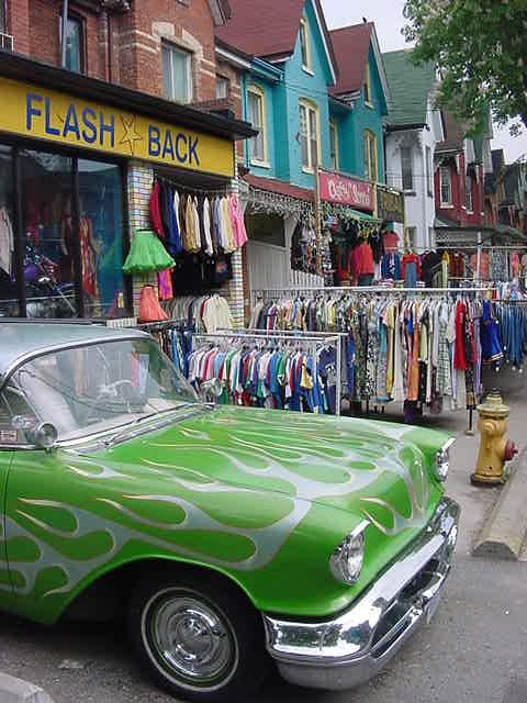 The Kensington Market is a neighborhood of shops that spill out onto the sidewalks to form a sort of open-air market.