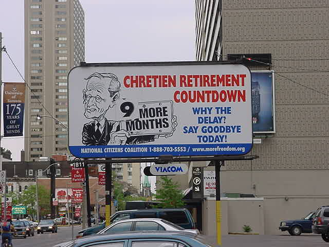 A billboard about the premier of Canada?