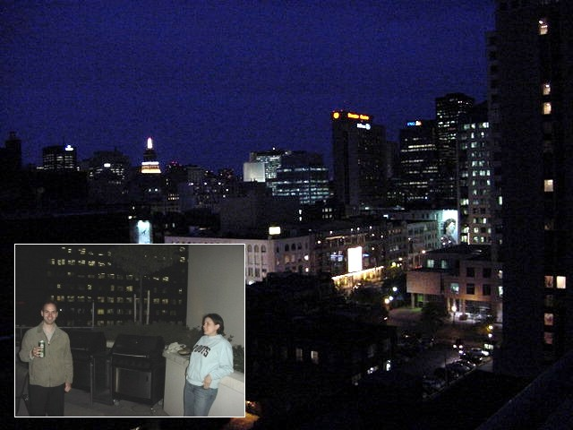 Shawn took me up to his girlfriend apartment where we had a light dinner meal with three meat sticks with salad on the rooftop barbecue.