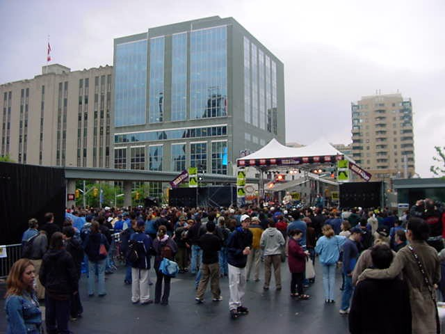 But there was no time to hang around the apartment too long, we had to go to the new Yonge-Dundas Square because the North by Northeast (NXNE) was launching its festival and conferences with live music there.