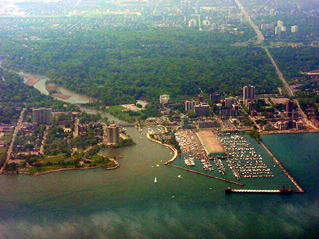 The port of the town of Burlington as seen from 3,000 feet.