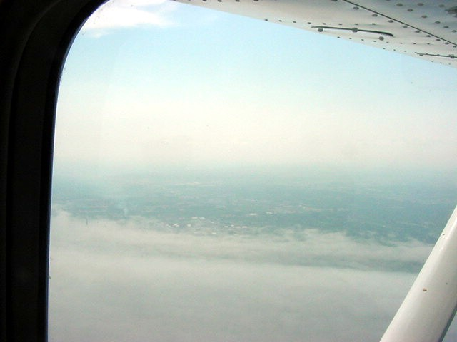 There is the fog bank that covered most part of the Ontario Lake today.