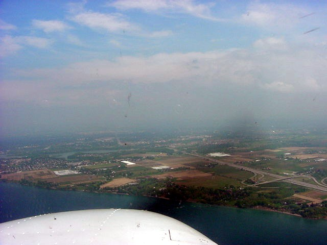 But soon the fog bank was behind us. Here we are approaching St Catherines.