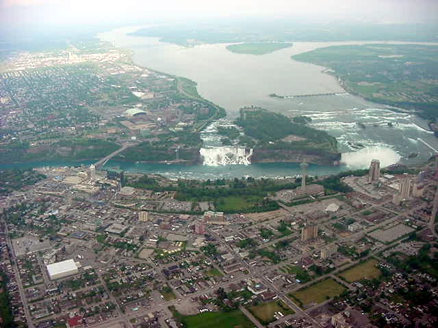 Niagare Falls, New York, is on the other side of the water and Niagara Falls, Ontario, is on this side of the river.