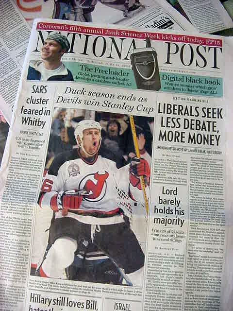 This Tuesday morning Doug woke me up while he was waving the National Post in my face. What? Front page? The National Post put a photo of me on the front page! Over its own title! Oh. My. God.