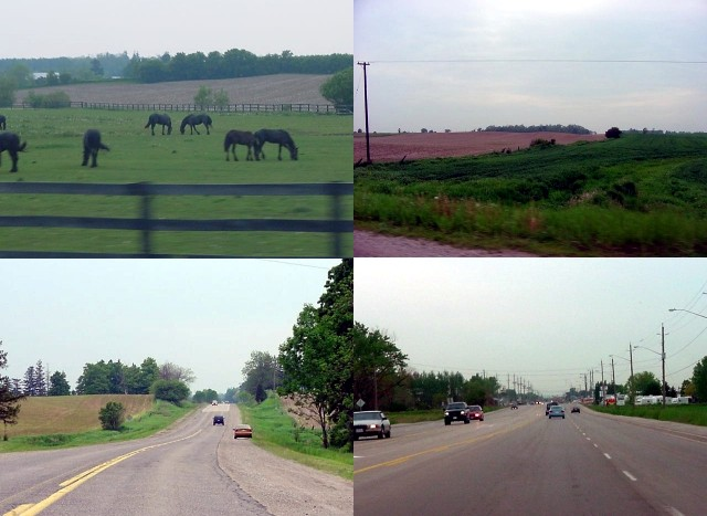 The drive from Burlington west to London took almost two hours. Heather didn<#k#>'t immediately take the highway, but we first drove on a scenic route through the countryside of southern Ontario. With green acres of farmland surrounding us we drove past towns as Brantford, Princeton, Paris, Woodbury, Gobles and Creditville.