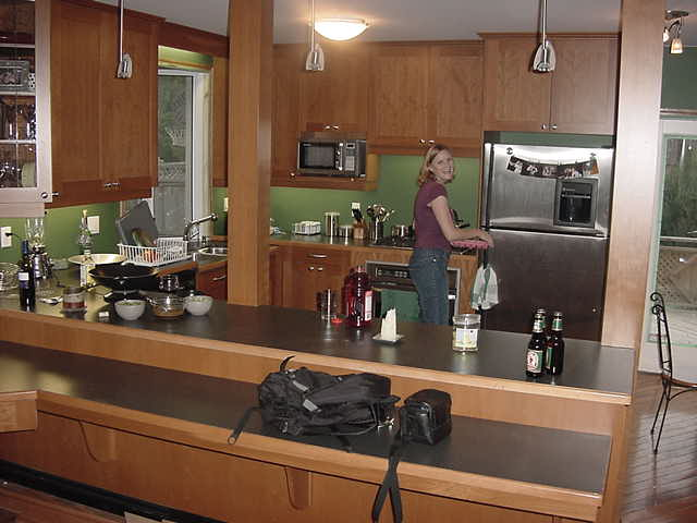 I am staying here with the 27-year-old Kelly Anderson. I was amazed by her shiny modern kitchen.