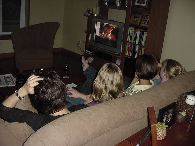 During dinner (chicken stir fry with rice and salad) with Kelly and Millie, more ladies came over for a visit, tonight was their night of watching Smut TV.