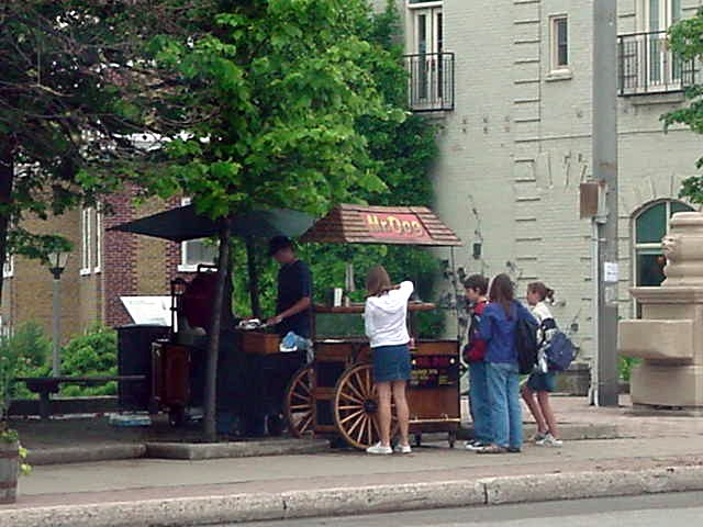 Is this looking like a historical hot dog cart or what?