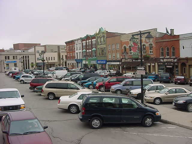 A look over the Stratford Marketplace with its comfy historical buildings.