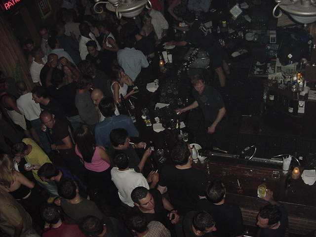 The main bar as seen from the second floor balcony.