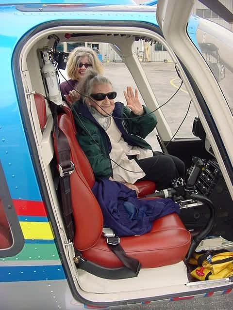 The 90-year-old Doroty had paid for the ride, so she had the priviledge to sit up front.
