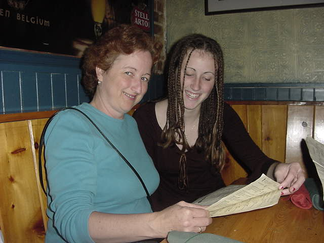 Sheila and daughter Marlow are browsing through tonights menu.