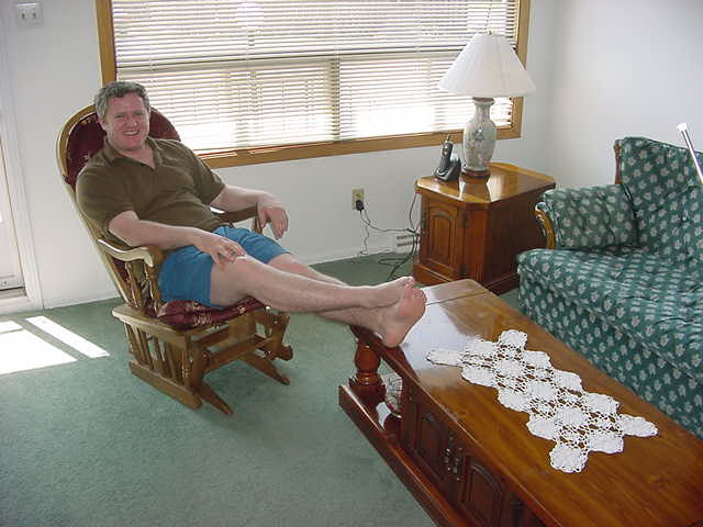 Blaine Duff had to work until 2.30pm today, and put his feet up when he got home.
