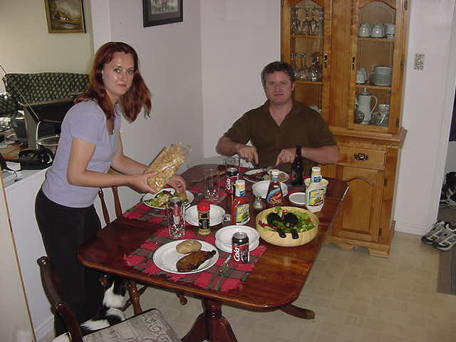 Dinner with Kelly and Blaine Duff. Kelly made the salad, Blaine did the steak on the barbeque.