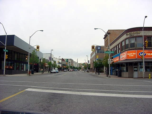 Driving through Thunder Bay North s downtown main street.
