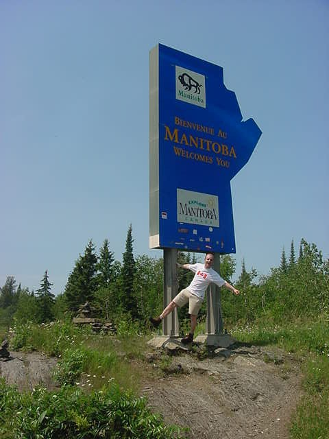 Welcome to Manitoba! I am crossing the border here! Seen my shirt yet?