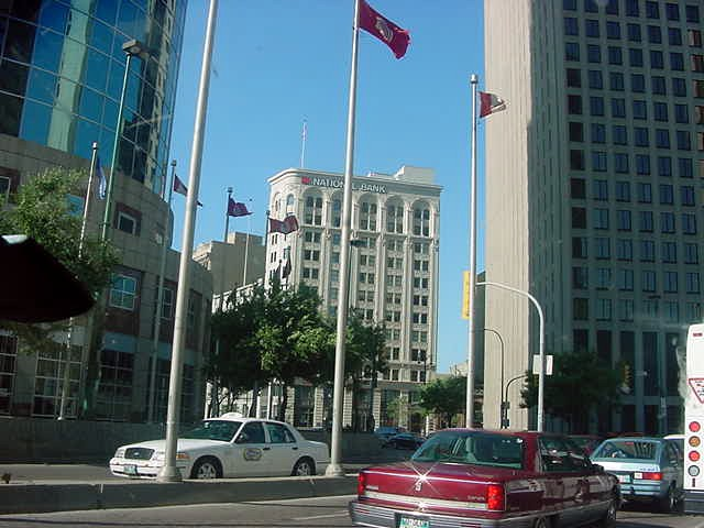 The crossing of Main Street and Portage Street, the main streets of Winnipeg. It is acclaimed to be the most windy street crossing in the entire world.