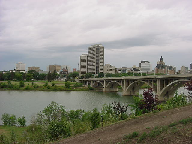 The downtown city center as seen looking east from the other side of the South Saskatchewan River.