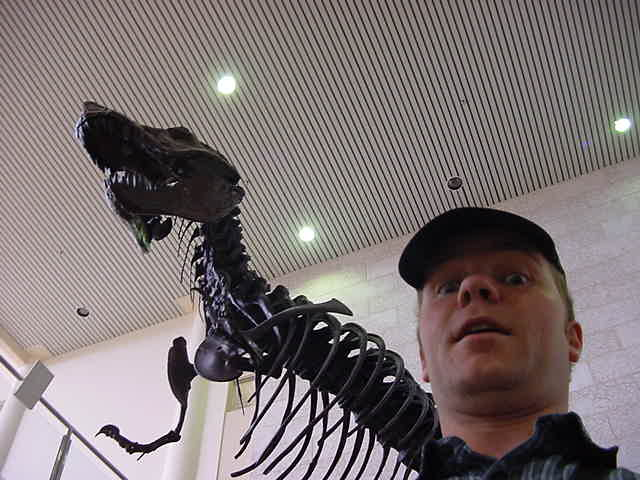 Posing with history itself at the Museum of Natural Sciences in the Geology Building of the university.