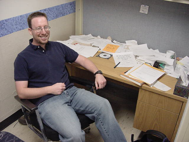 Danny is M.A. candidate in the Basic Behavioural Science program at the University of Saskatchewan. His research is concerned with rhythmic variation in testosterone and risk-taking behaviour. This is Danny at his research desk. Very impressive desk, Danny!