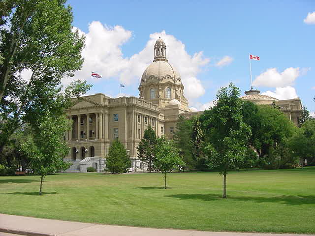 The impressive Alberta Legislature Building.