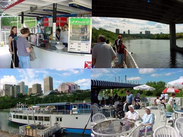 To experience the city on a different way than on feet or in a car, Sylvia invited me along for a riverboat cruise on the North Saskatchewan River. The Edmonton Queen is a 170 foot paddle wheeler that cruises the river day by day.