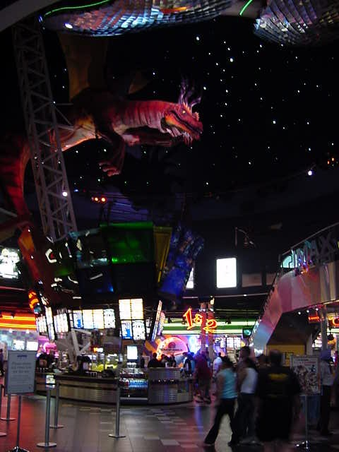 This is the cinema area, where there are 19 theatres. And this dragon actually spits fire!