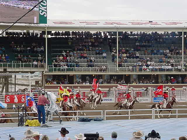 The opening ceremony at 1.30 PM was fascinating. Cowgirls on their horses were flagging the sponsors while fireworks were blasted in the sky. Shania Twain s music cheered everybody up. Then the national anthems of the United States and Canada followed and the bronco-riding started an exiting competition.