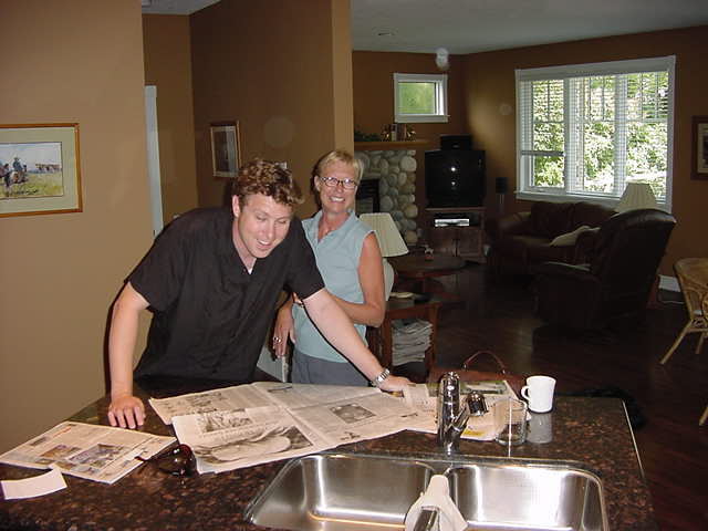 Meet the Collins! Erin reading the newspaper and mother Betty.
