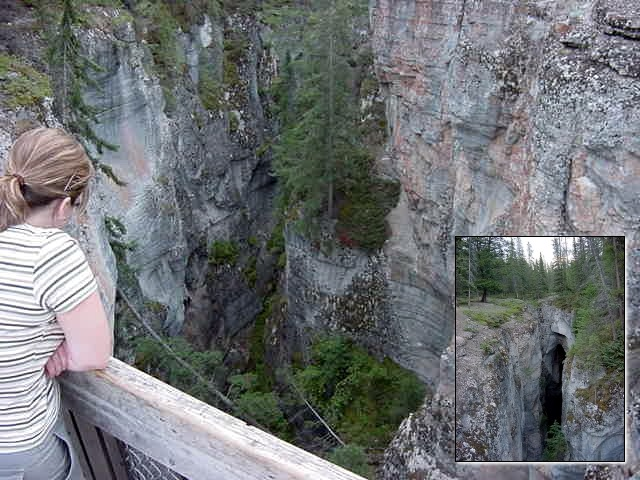 The waterfall is located underneath the 4th Bridge, and is more often than not a breeding ground for professional photographers.  This waterfall is often seen on postcards and in books on the Canadian Rockies whenever Maligne Canyon is being mentioned. At the lower end of Medicine Lake (the lower lake) the bedrock is very porous, and the outflow from the lakes goes underground.  All the streams draining down the valley below Medicine Lake gather independently from the large river and form a smaller, more creek like stream.  10 miles from Medicine Lake the smaller river drops down this spectacular limestone slot canyon.  Because its made of limestone, its easily eroded.