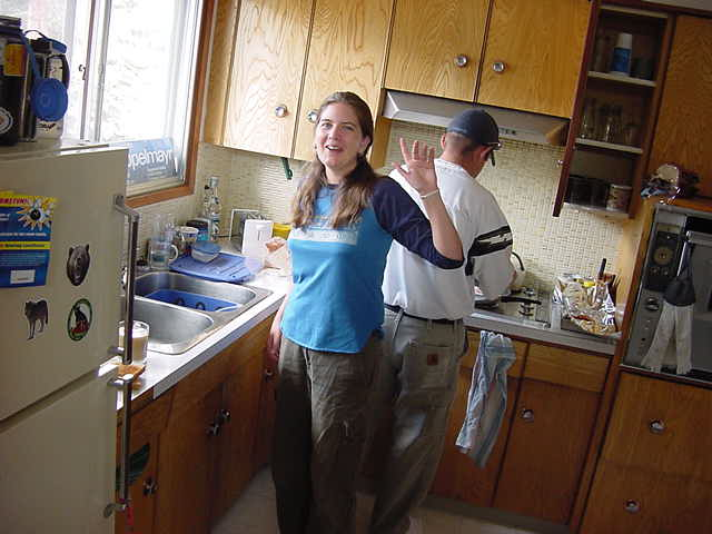 Corinne in the kitchen of her boyfriends home, getting ready for our big breakfast.