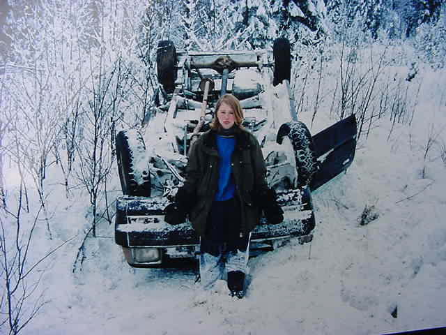 Karen once had this station wagon, but that one turned over on some snow ditch and got brutally damaged. With pride of the past she showed me the photo of her car upside-down in the snow.