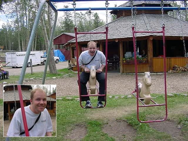 So I had a fake horse-ride on the playground there, to compensate it.