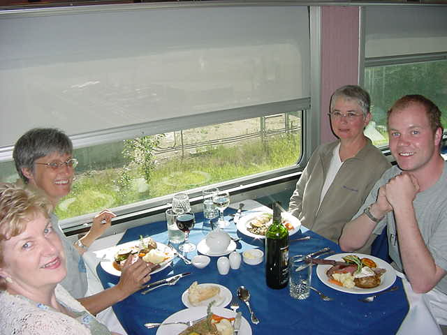 My train ride included a dinner which I enjoy in the dining car in the company of two American ladies and one Canadian.