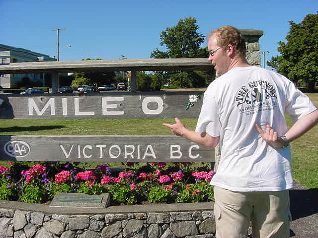 Here I am at the starting point of the TransCanadian Highway. With my shirt from the Guvnors Pub in St Johns Newfoundland (the end of the Highway) I made a remarkable pose.