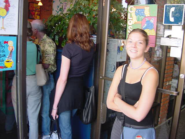 Yeah, that is right, we even had to stand in line. - Dont worry, Anna said, normally the line goes down the street.