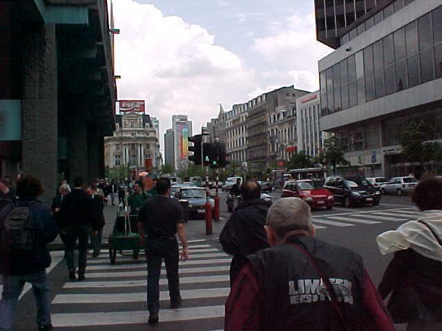 A view at the busy main street of Brussels...