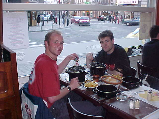 Steven and me at the Fish restaurant, both with a big bowl of mussels...