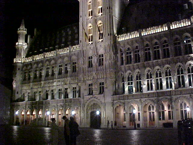The big marketsquare with the City Hall by night... Nice story: when the architect found out that the entrance was not exactly in the middle of the building, he committed suicide...