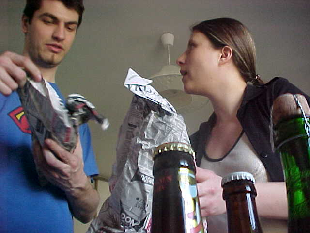 Virginia and Alban while unpacking their beer Gifts...
