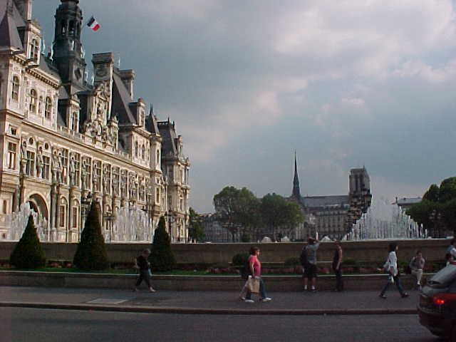 L Hotel de Ville at the left and in the middle you can already see the Notre Dame of Paris...