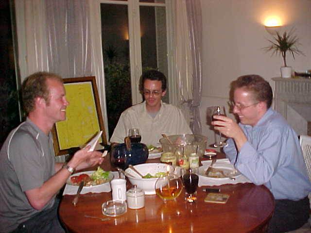 Me, Walter and Jurgen at dinner around 9.30pm. Photo by Christoph Combarieu.