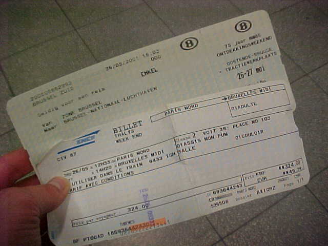 My tickets for the high speed train to Brussels Airport...
