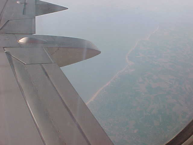 The view from the plane at the Belgian coastline...