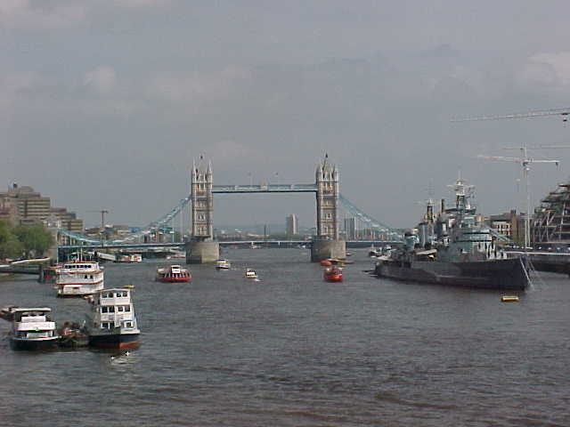 The London Tower Bridge as seen from the London Westminster Bridge...