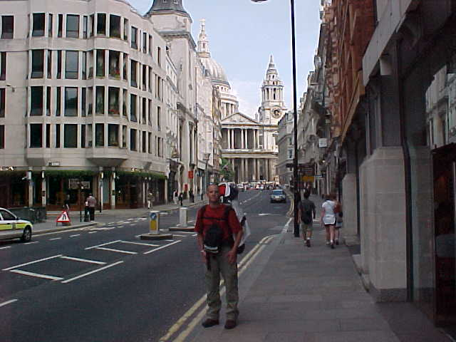 Me in the streets of London, behind me Saint Pauls Cathedral...